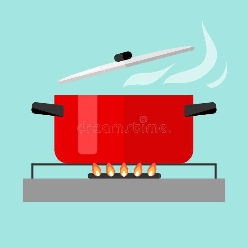 Braadpan met soep op brand vector illustratie