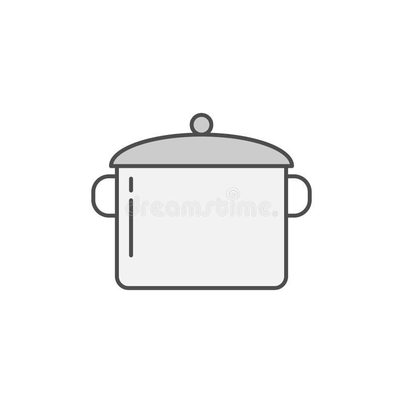 Braadpan, Panpictogram Keukentoestellen voor het koken van Illustratie Het eenvoudige dunne symbool van de lijnstijl royalty-vrije illustratie