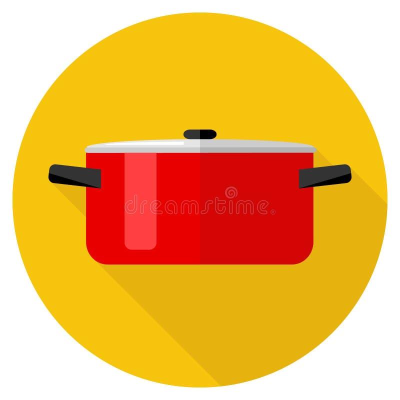 Braadpan, rode steelpan op oranje achtergrond met schaduw Het pictogram van de pan vector illustratie