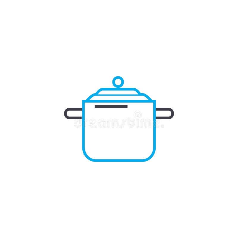Braadpan voor concept van het soep het lineaire pictogram Braadpan voor het vectorteken van de soeplijn, symbool, illustratie vector illustratie