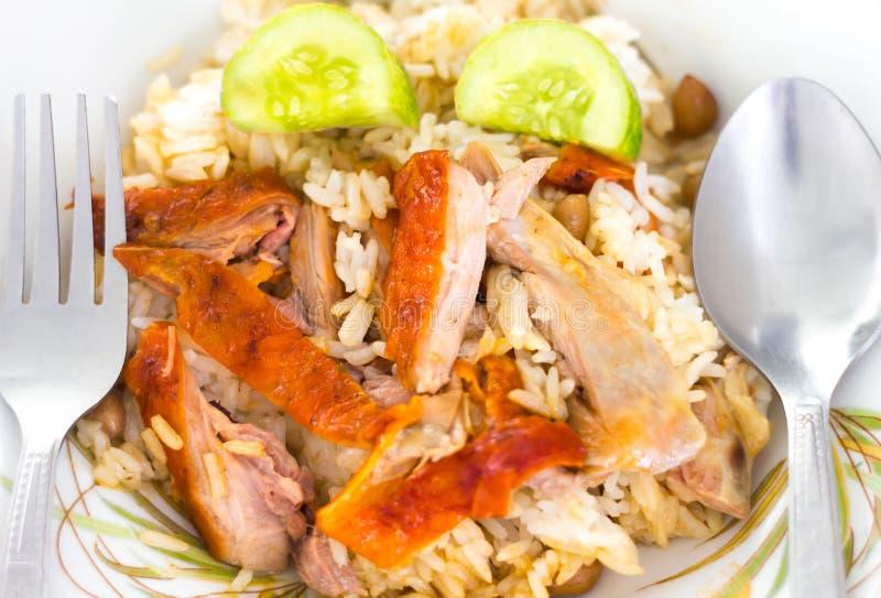 Braadstukeend over rijst royalty-vrije stock afbeeldingen