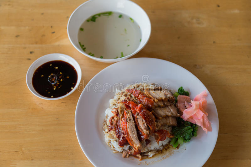 Braadstukeend over rijst stock afbeelding