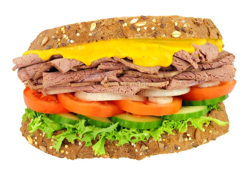 Braadstukrundvlees en Saladesandwich royalty-vrije stock afbeelding