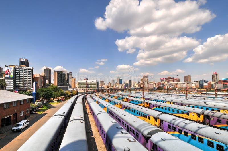 Braamfontein järnväg gårdar, Johannesburg royaltyfri foto