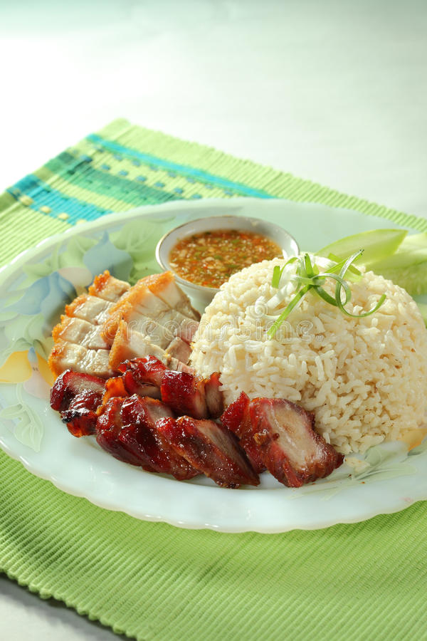 brabecue ρύζι χοιρινού κρέατος στοκ εικόνες
