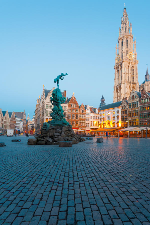 Brabo Grote Markt Antwerp Cathedral Blue Hour royalty free stock photography