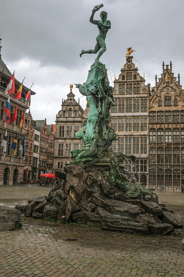 Brabos's Monument at the Grote Market Square in Antwerp. stock images