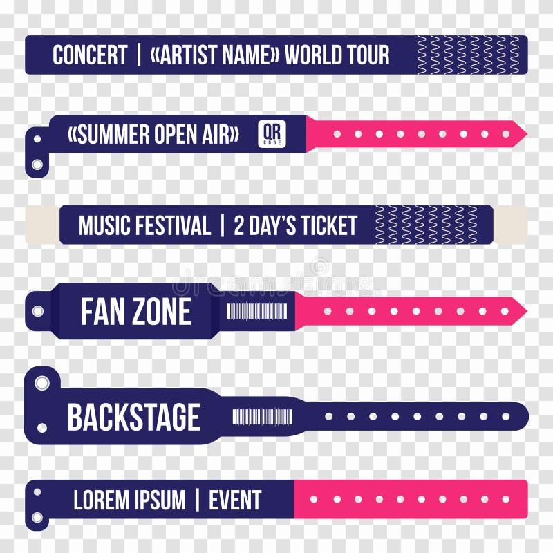 Braccialetti di concerto per l'entrata all'evento Insieme dei polsini per l'entrata al festival, concerto illustrazione vettoriale