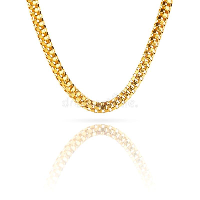 Braccialetto a catena puro della collana dell'oro solido isolato su fondo bianco royalty illustrazione gratis