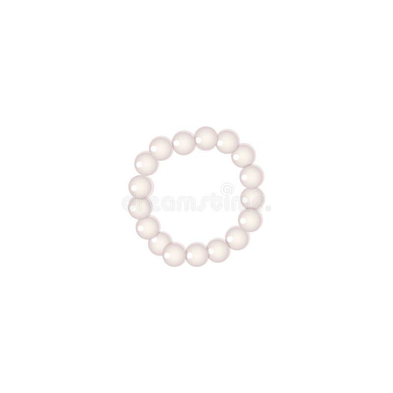 Braccialetto della perla della perla o girocollo della perla su fondo bianco, royalty illustrazione gratis