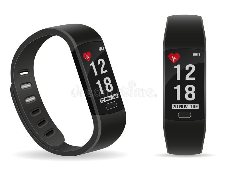 Braccialetto di orologio astuto di forma fisica di Digital con il vect delle azione dello schermo attivabile al tatto illustrazione vettoriale