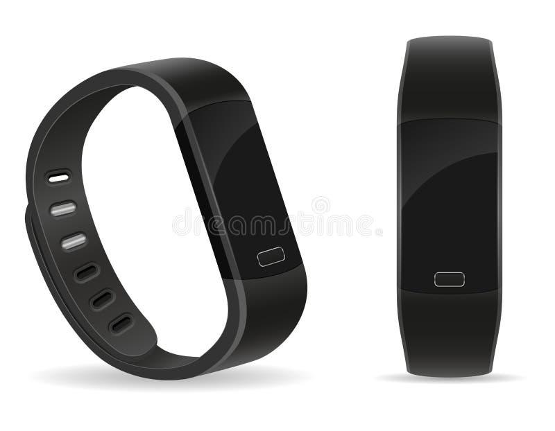 Braccialetto di orologio astuto di forma fisica di Digital con il vect delle azione dello schermo attivabile al tatto illustrazione di stock