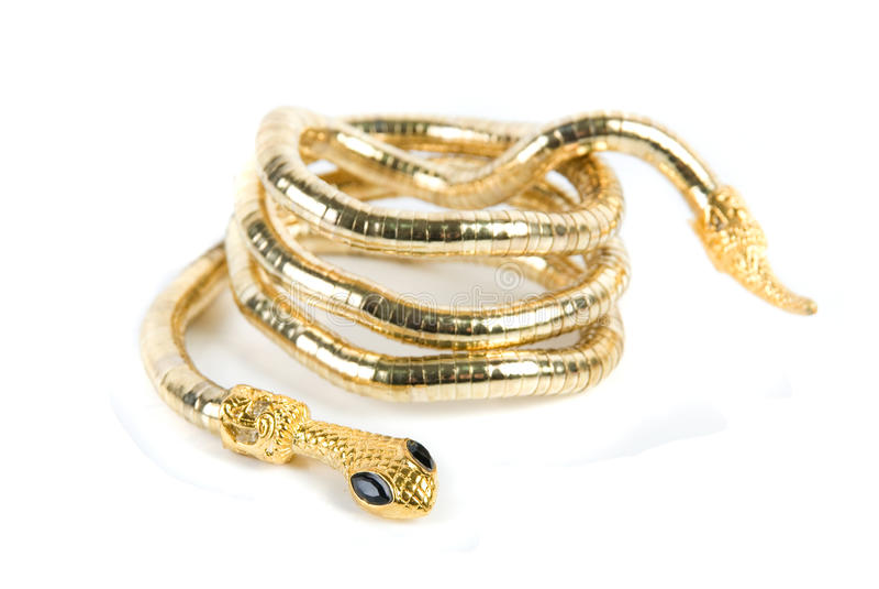 Braccialetto dorato del serpente fotografie stock libere da diritti