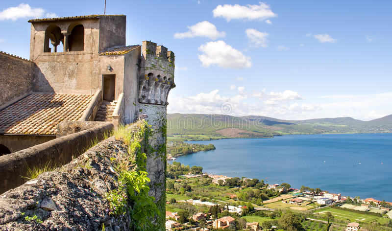 Bracciano castle lake Rome outskirt travel italy. The view of the Bracciano lake from the top of the Bracciano Castle stock photos