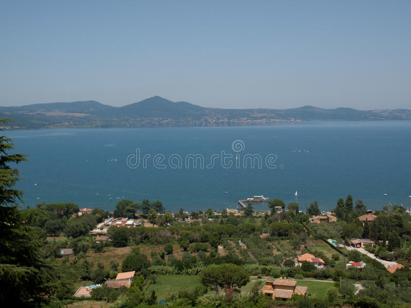 Bracciano Lake. View over the Bracciano Lake from Orsini Castle, near Rome, Italy stock image