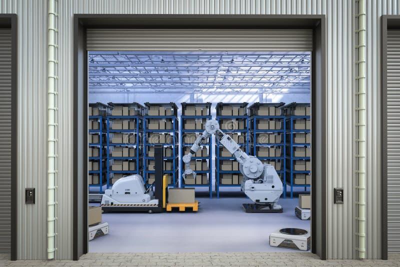 Braccio automatico del robot e del carrello elevatore immagine stock