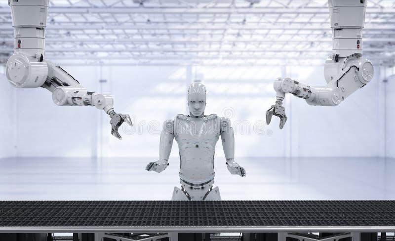 Braccio del robot con la linea del trasportatore illustrazione di stock