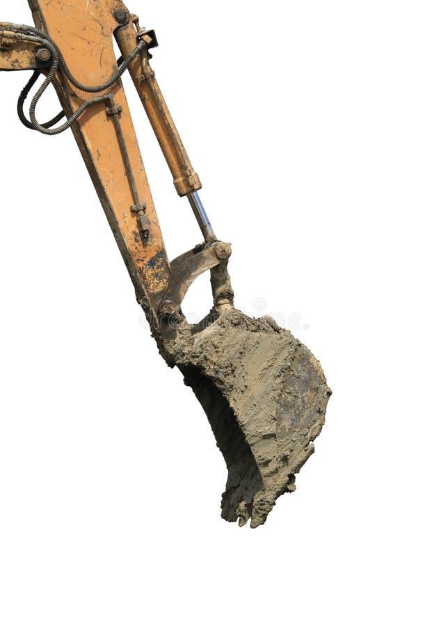 Braccio dell'escavatore a cucchiaia rovescia con il secchio fotografia stock libera da diritti