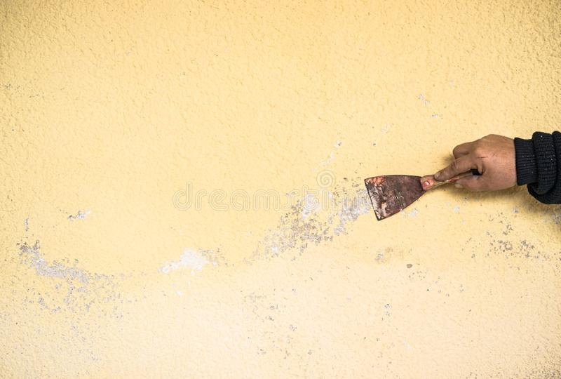 Braccio maschio del lavoratore con la spatola che graffia vecchio gesso dalla parete fotografia stock