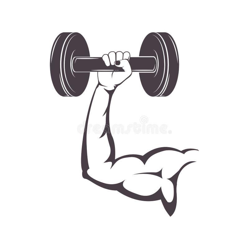 Braccio muscolare della siluetta che tiene i pesi di un disco royalty illustrazione gratis