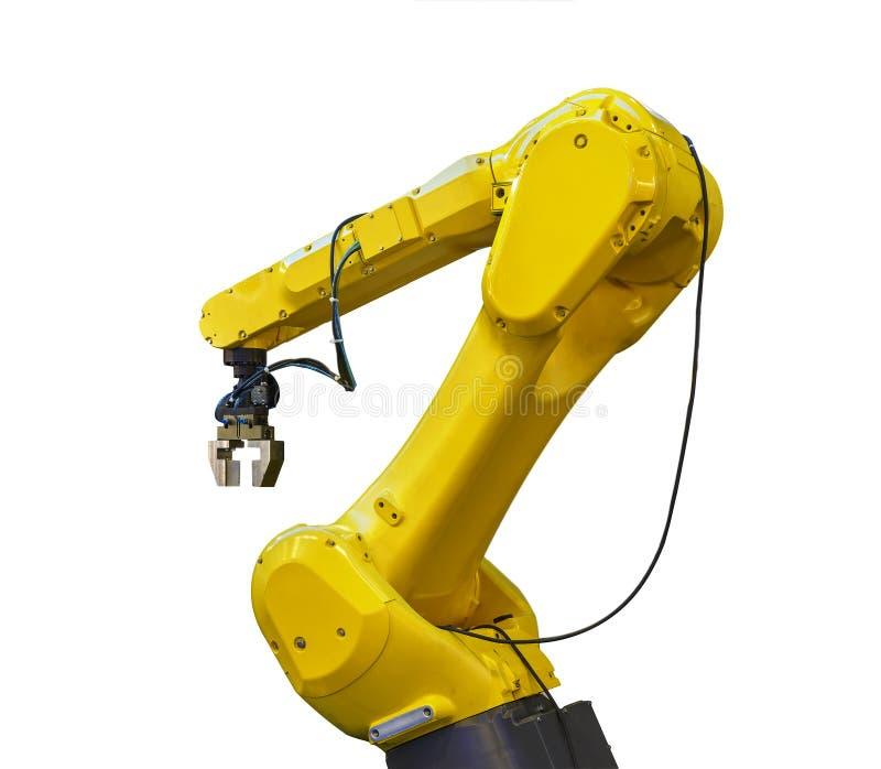 Braccio robot industriale isolato su fondo bianco immagine stock libera da diritti