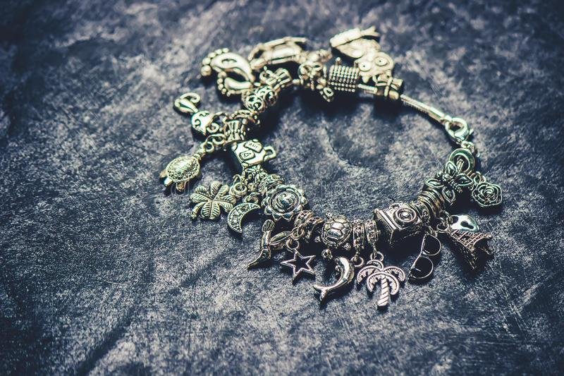 Bracelet with charms. Selective focus stock image