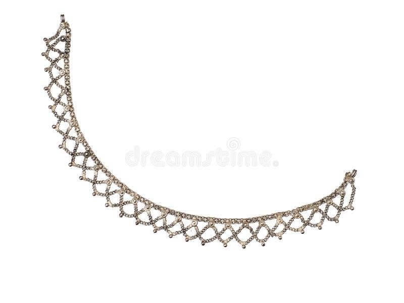 Bracelet coloré argenté indien, chaîne de chaîne de cheville, d'isolement sur le fond blanc bijou images stock