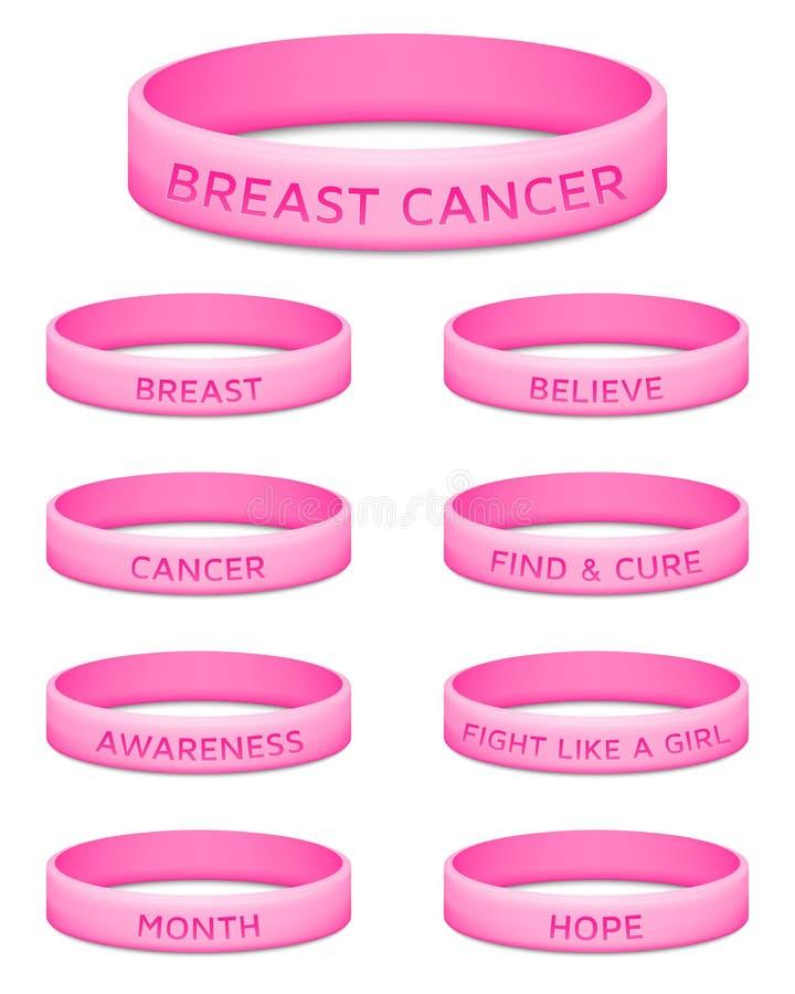 Bracelet en caoutchouc de mois de conscience de cancer du sein images stock