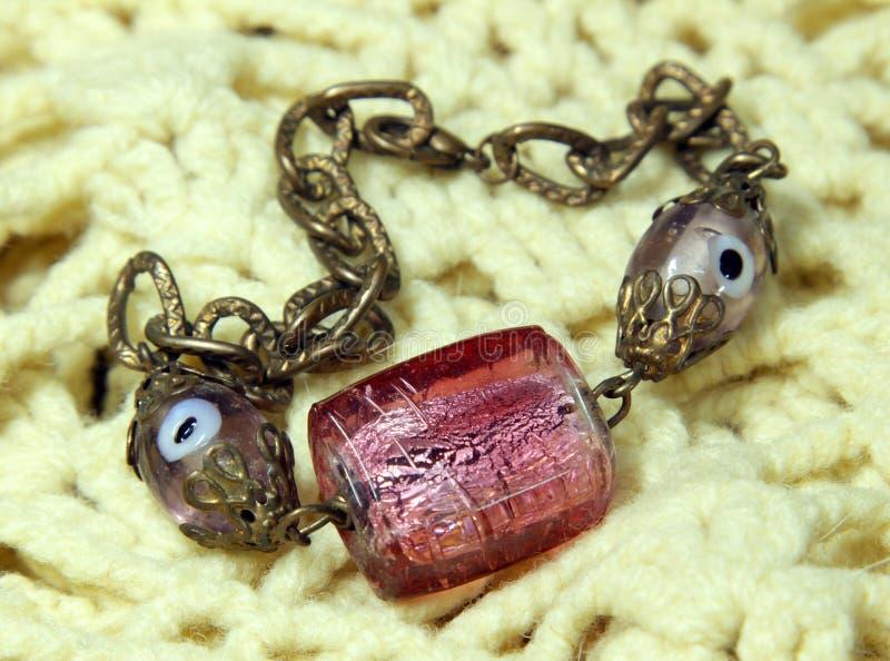 Bracelet handmade from Murano glass royalty free stock images