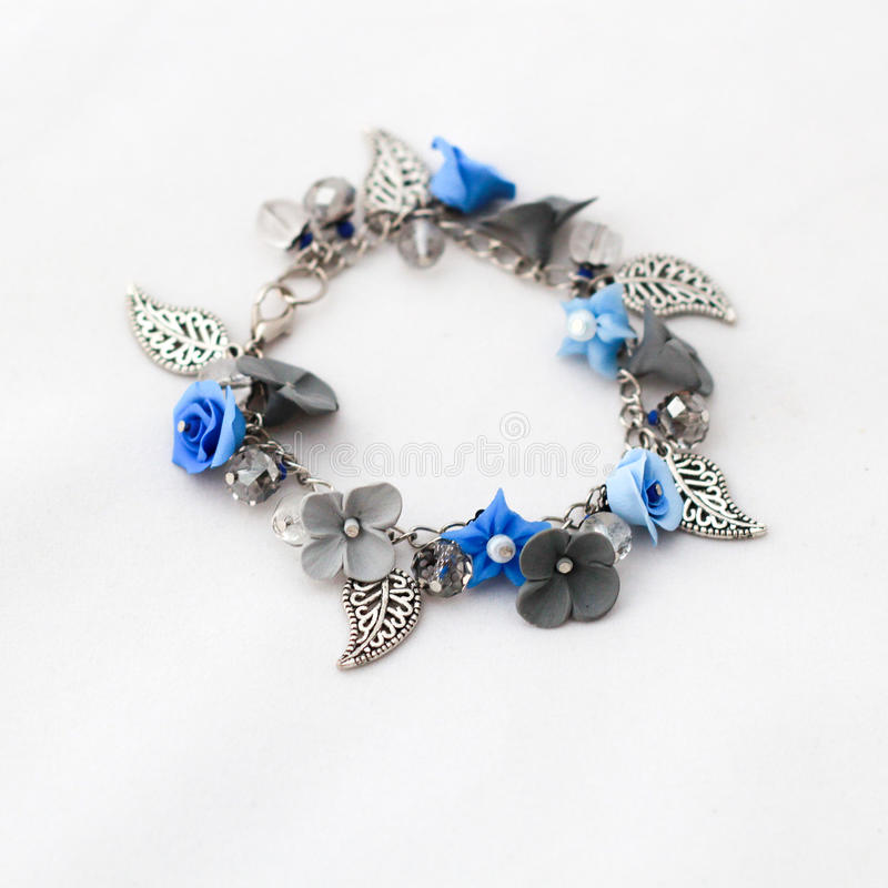 Bracelet Handmade From Polymer Clay And Wire Stock Photo - Image of ...