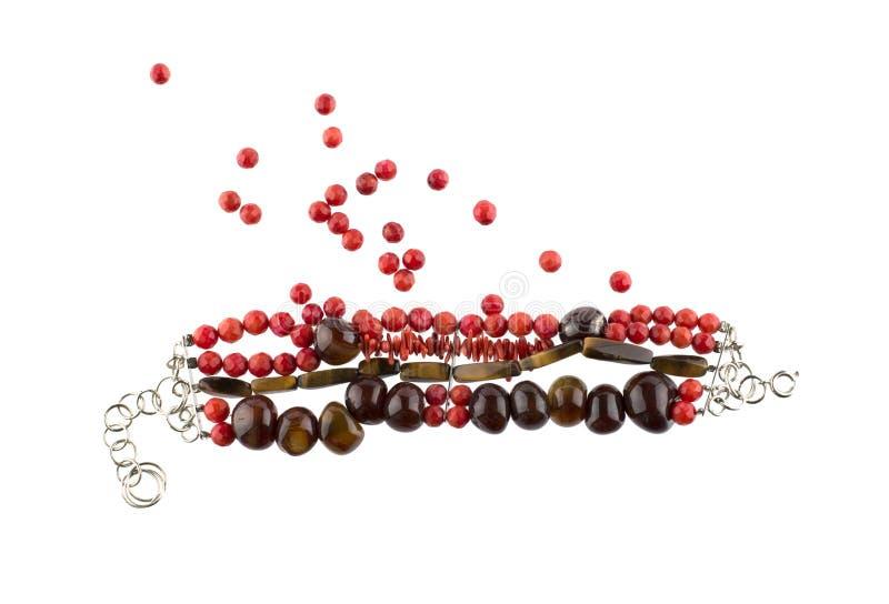 Bracelet rouge de pierre gemme photo stock