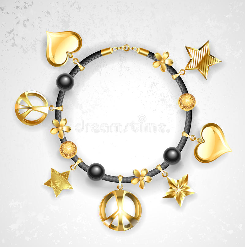Bracelet with symbols stock illustration