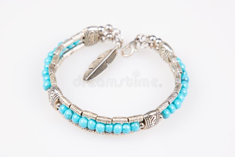 Bracelete azul de prata da joia com pedra semipreciosa foto de stock royalty free