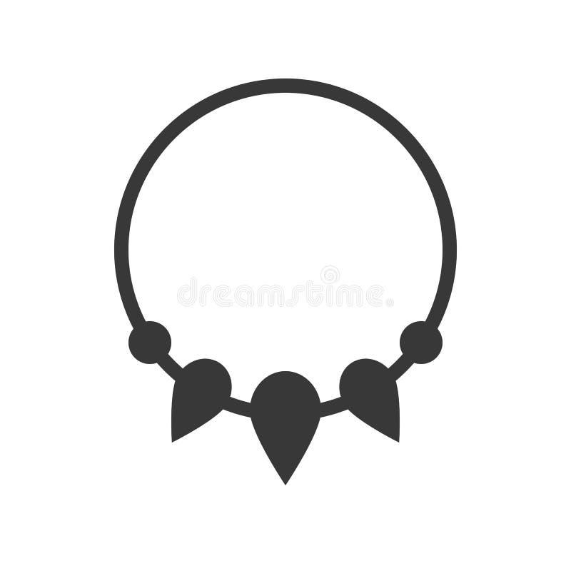 Bracelete da colar de pedras preciosas dos encantos, ícone da joia, estilo do glyph ilustração do vetor