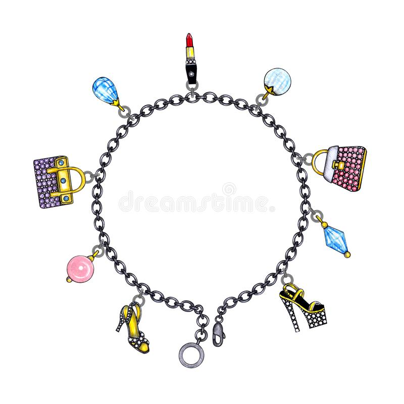 Bracelete da forma do projeto da joia ilustração royalty free
