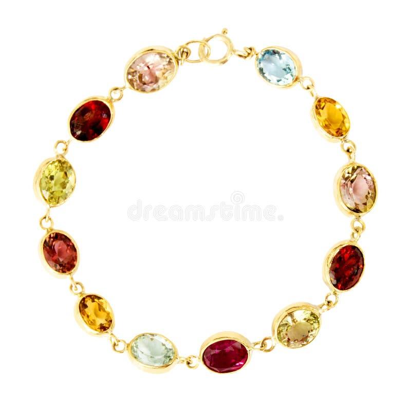 Bracelete de Multigem isolado no branco fotografia de stock royalty free