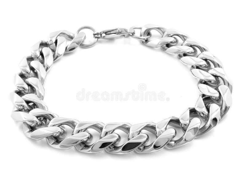 Bracelete de prata da joia A?o inoxid?vel imagem de stock