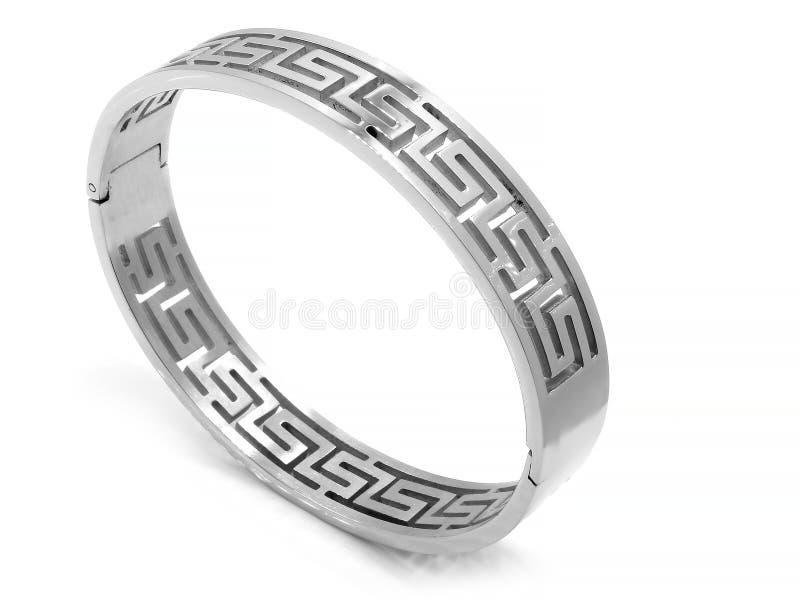 Bracelete de prata - joia - de aço inoxidável imagens de stock royalty free