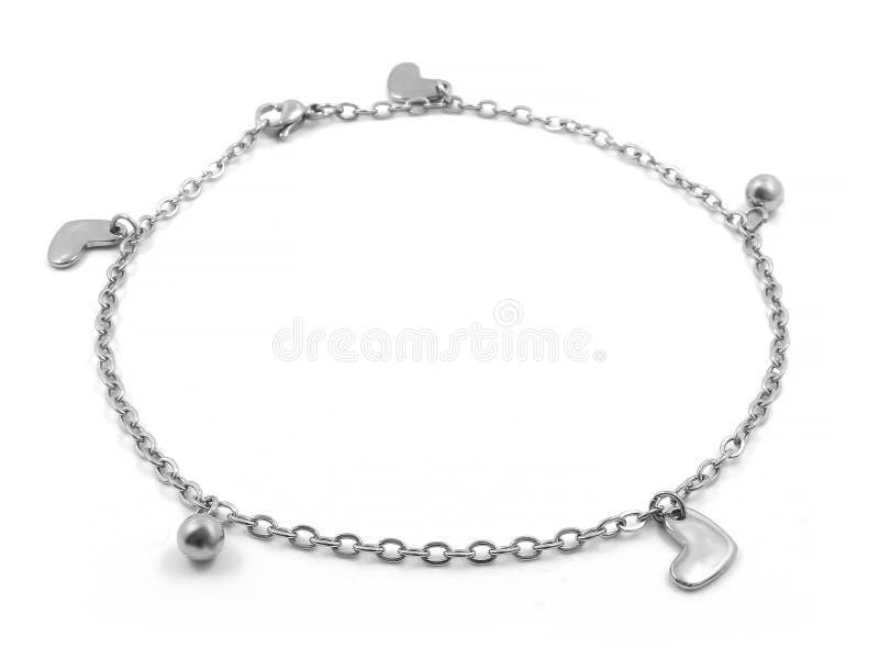 Bracelete de tornozelo bangle Aço inoxidável fotografia de stock royalty free