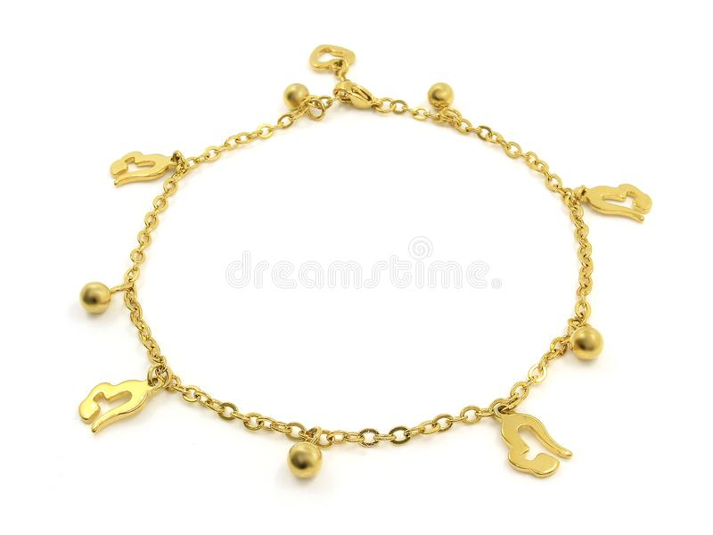 Bracelete de tornozelo com pendentes Aço inoxidável fotos de stock