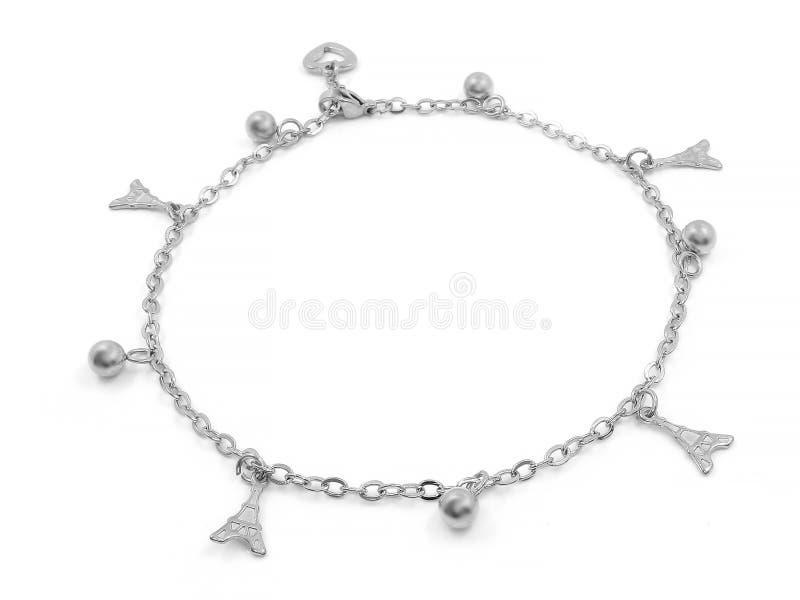 Bracelete de tornozelo com pendentes Aço inoxidável fotografia de stock royalty free