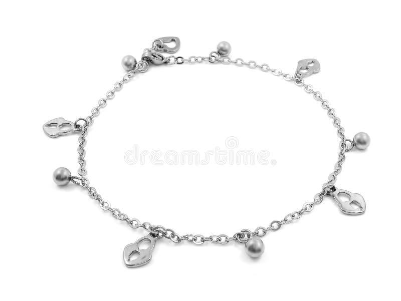 Bracelete de tornozelo com pendentes Aço inoxidável fotos de stock royalty free