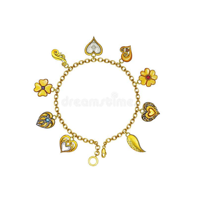 Bracelete do amor da forma do projeto da joia ilustração royalty free