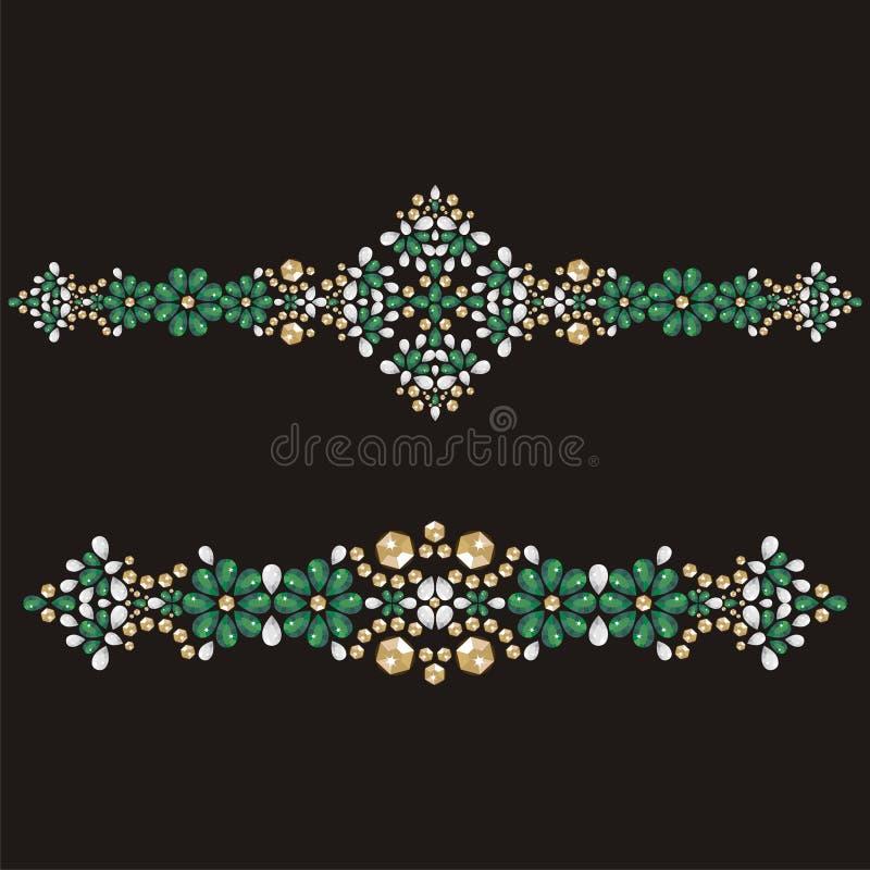 Bracelete do encanto do ouro, fêmea com pedras preciosas esmeraldas, forma dos cristais de rocha do applique ilustração stock