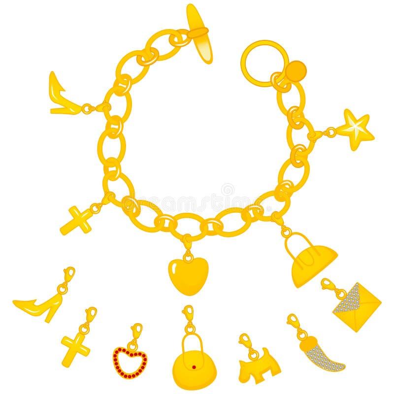 Bracelete dourado dos encantos ilustração do vetor