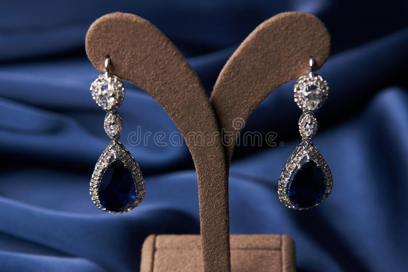 Bracelete e brincos bonitos da platina imagem de stock
