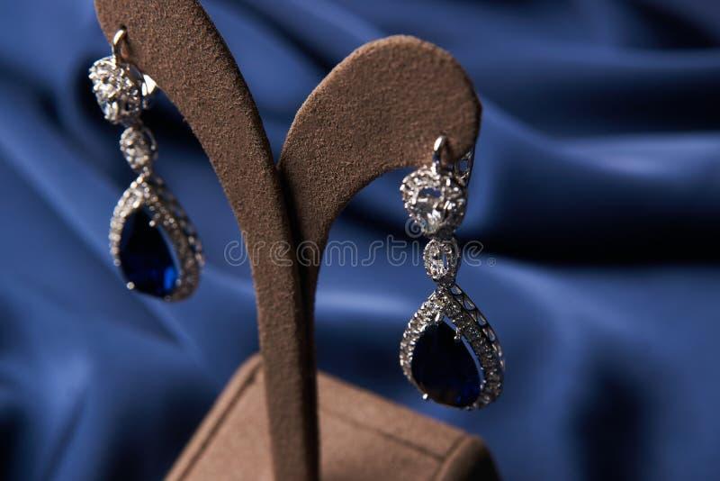 Bracelete e brincos bonitos da platina foto de stock royalty free
