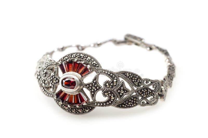 Bracelete e brincos de prata com pedra preciosa das grandada fotos de stock royalty free