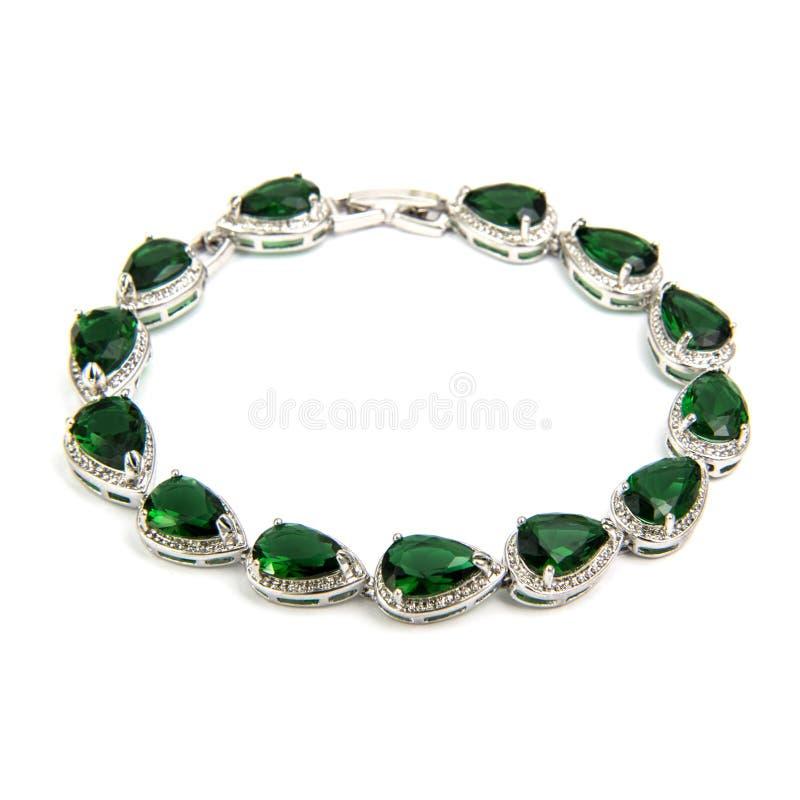 Bracelete esmeralda da forma isolado no branco imagens de stock