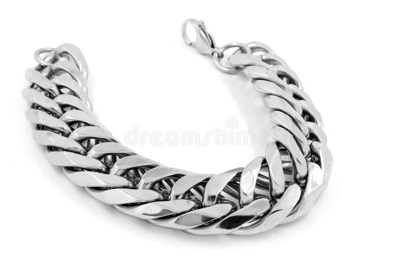 Bracelete maciço do ` s dos homens - de aço inoxidável fotos de stock royalty free